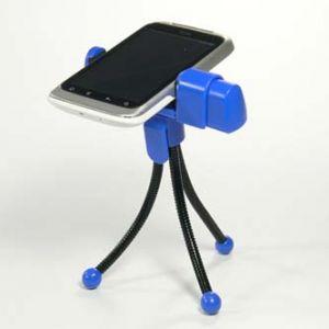 Držák mobilu na stůl, modrý, termoplast, LOGO, pro jakýkoliv mobilní telefon