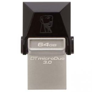 KINGSTON USB Flash DataTraveler microDuo, 3.0/microUSB, 64GB, černý, stříbrný, DTDUO3/64GB