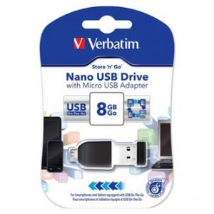 VERBATIM USB flash disk, 2.0, 8GB, Nano Store ,N, Stay, s adaptérem Micro USB, černý, 4982