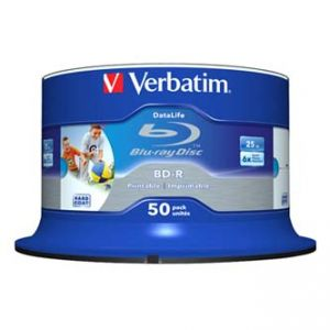 VERBATIM BD-R SL Hard Coat protective layer Wide Inkjet Printable 25GB Spindle 43812