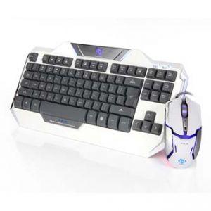 E-BLUE Sada klávesnice Auroza herní bílá USB US s optickou herní myší