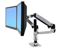 ERGOTRON LX REDESIGN DUAL ARM, POLE MOUNT, Pro 2 LCD, nebo 1LCD a NOTEBOOK, Polished Alumi
