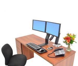 ERGOTRON WorkFit-A, Dual Display, Polished aluminum, nastavitelný stolní držák pro dva mon