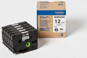 BROTHER HGE-131V5 průhledná / černá 12 mm (pro PT 9xxx) - balení 5 ks