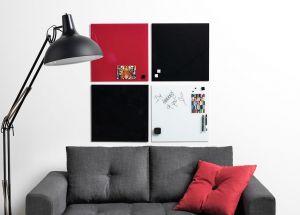 Skleněná magnetická tabule 45x45 cm - červená
