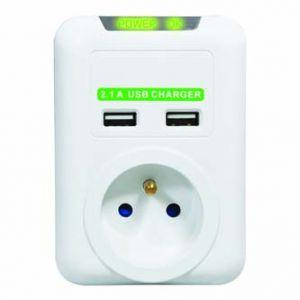 Bezkabelová přepěťová ochrana 1 zásuvka bílá LOGO, 2x USB