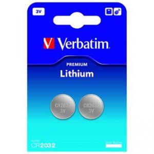 baterie Lithiová, CR2032, 3V, VERBATIM, blistr, 2-pack, 49936, cena za 1ks