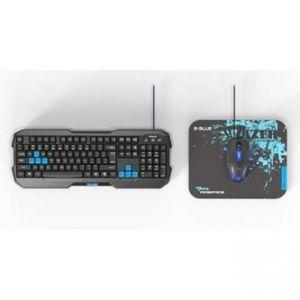 E-BLUE Sada klávesnice Polygon herní drátová (USB), US, s myší Cobra II + podložka Maze