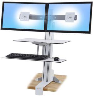 ERGOTRON WorkFit-S, Dual Monitor with Worksurface+ (bílý) stolní držák pro dva monitory
