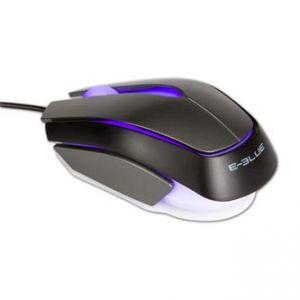 E-BLUE Myš Mood, optická, 3tl., 1 kolečko, drátová (USB), černá, 2400DPI, 3 barvy podsvíce