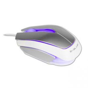 E-BLUE Myš Mood, optická, 3tl., 1 kolečko, drátová (USB), stříbrná, 2400DPI, 3 barvy podsv