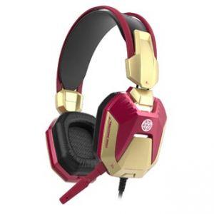E-BLUE, Iron Man 3, herní sluchátka s mikrofonem, červená, 3.5mm+USB konektor
