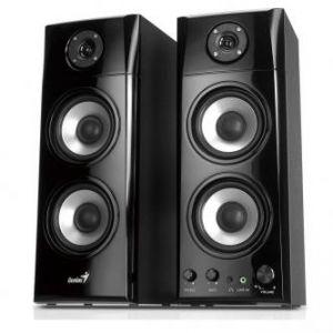 GENIUS reproduktory SP-HF1800A, 2.0, 50W, ovládání hlasitosti, černé, dřevěné, 3.5mm konek