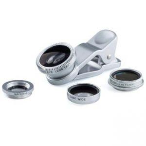 Čočka (objektiv) na mobil, s klipem, plast/hliník, stříbrná, 3v1, rybí oko