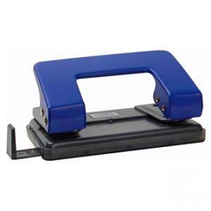 Děrovač na 10 listů, tmavě modrý, posuvný přiložník pro formáty A6 až A4