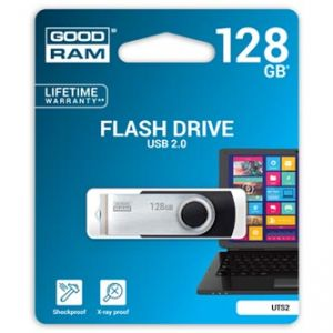 GOODRAM USB flash disk, 2.0, 128GB, Twister, černý, UTS2-1280K0R11, podpora OS Win 7