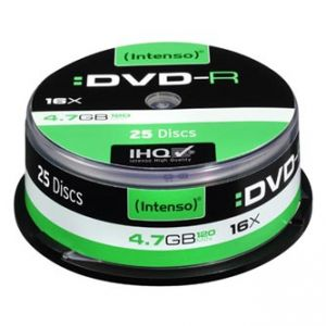 INTENSO DVD-R, 4101154, 25-pack, 4.7GB, 16x, 12cm, Standard, cake box, bez možnosti potisk