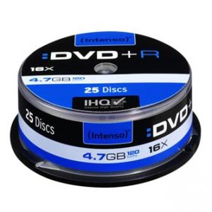INTENSO DVD+R, 4111154, 25-pack, 4.7GB, 16x, 12cm, Standard, cake box, bez možnosti potisk