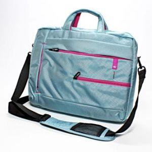 """Taška na notebook, 15,6"""", světle modrá s růžovými prvky z nylonu"""