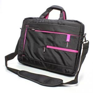 """Dámská taška na notebook, 15,6"""", černá s růžovými prvky z nylonu"""