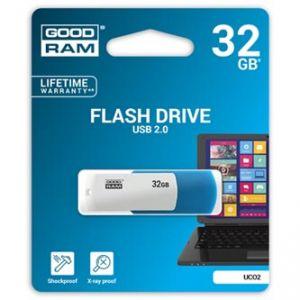 GOODRAM USB flash disk, 2.0, 32GB, UCO2, blue and white, podpora OS Win 7 a vyšší