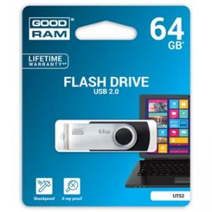 GOODRAM USB flash disk, 2.0, 64GB, UTS2, černý, podpora OS Win 7 a vyšší