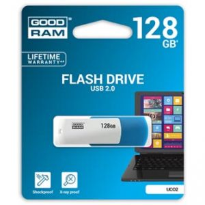 GOODRAM USB flash disk, 2.0, 128GB, UCO2, blue and white, podpora OS Win 7,8,10