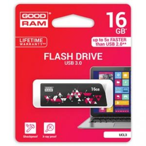 GOODRAM USB flash disk, 3.0, 16GB, UCL3, černý, UCL3-0160K0R11, podpora OS Win 7