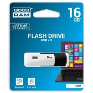 GOODRAM USB flash disk, 2.0, 16GB, UCO2, black and white, UCO2-0160KWR11, podpora OS Win 7