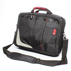 """Stylová taška na notebook, 15,6"""", černá s červenými prvky z nylonu"""