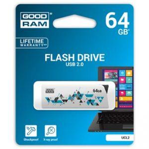 GOODRAM USB flash disk, 2.0, 64GB, UCL2, bílý, podpora OS Win 7