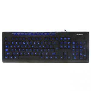 A4Tech Klávesnice KD-800L, multimediální, černá, drátová (USB), US, s modře podsvícenými t