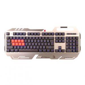 A4TECH Klávesnice BLOODY B418 silver, herní, stříbrná, drátová (USB), CZ, podsvícená