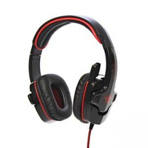 RED FIGHTER herní sluchátka s mikrofonem, ovládání hlasitosti, červeno-černá, USB konekto