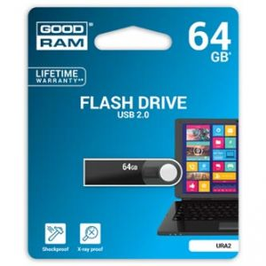 GOODRAM USB flash disk, 2.0, 64GB, URA2 , černý