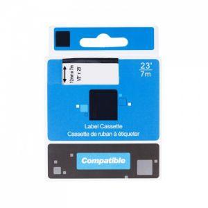 Kompatibilní páska s DYMO 45010 S0720500 12mm 7m cerný tisk/pruhl. podklad D1