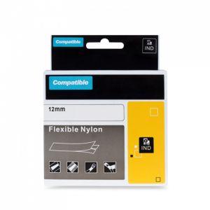 Kompatibilní páska s DYMO 18488 12mm 3.5m cerný tisk/bílý p. RHINO nyl.flexi