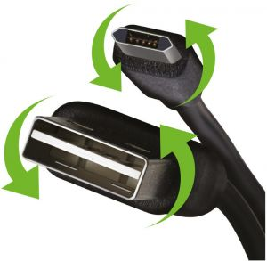 Kabel USB-A / USB micro Reversible - Oboustranný konektor, 1m, plochý černý nabíjecí kabel
