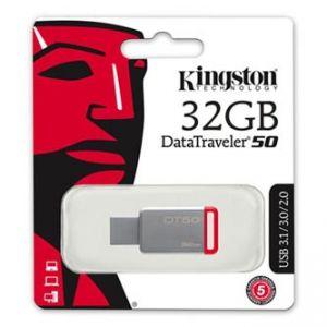 KINGSTON USB flash disk, 3.0, 32GB, DataTraveler DT50, červený