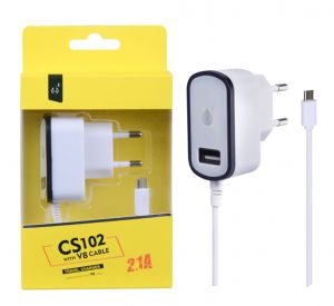 Nabíječka PLUS MicroUSB s USB výstupem 5V/2,1A bílá microUSB + USB