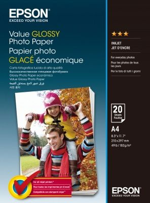 EPSON Value Glossy Photo Paper, foto papír, lesklý, bílý, A4, 200 g/m2, 20 ks, C13S400035,