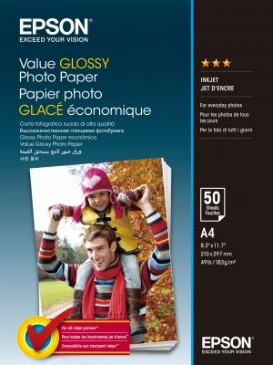 EPSON Value Glossy Photo Paper, foto papír, lesklý, bílý, A4, 200 g/m2, 50 ks, C13S400036,