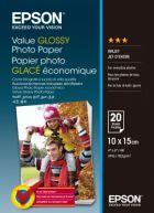 EPSON Value Glossy Photo Paper, foto papír, lesklý, bílý, 10x15cm, 183 g/m2, 20 ks, C13S40