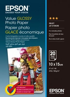EPSON Value Glossy Photo Paper, foto papír, lesklý, bílý, 10x15cm, 183 g/m2, 20 ks, C13S40