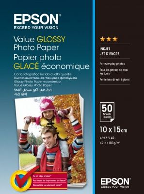 EPSON Value Glossy Photo Paper, foto papír, lesklý, bílý, 10x15cm, 183 g/m2, 50 ks, C13S40