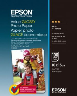 EPSON Value Glossy Photo Paper, foto papír, lesklý, bílý, 10x15cm, 183 g/m2, 100 ks, C13S4