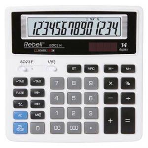 Kalkulačka REBELL RE-BDC314 BX, bílá, stolní, čtrnáctimístná
