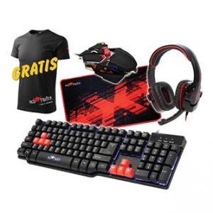RED FIGHTER Sada herní klávesnice, černá, drátová (USB), US, s herní myší, sluchátky a pod