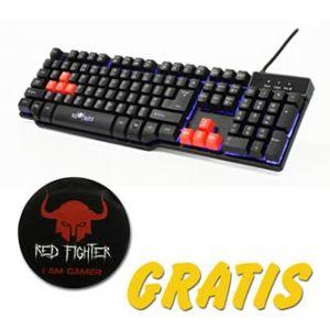 RED FIGHTER Klávesnice herní, černá, drátová (USB), US, podsvícená, s dárkem