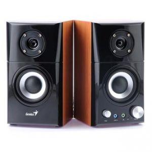 GENIUS reproduktory SP-HF 500A, 2.0, 14W, ovládání hlasitosti, hnědo-černé, dřevěné, 3.5mm